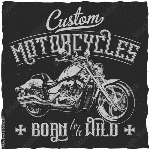 Photo  Custom Motorcycles Vintage Label Poster