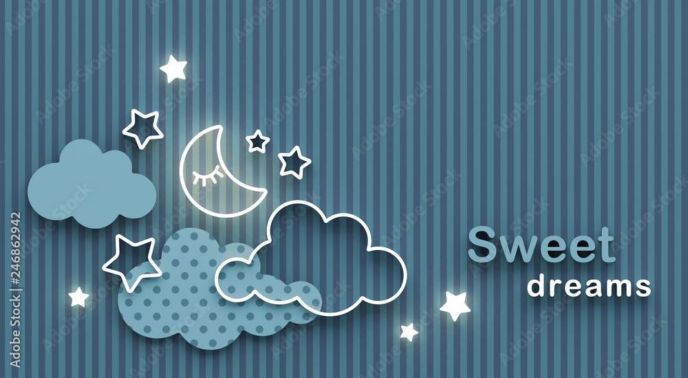 Kreskówka śpiący księżyc, chmury i gwiazdy na nocnym niebie. Życząc dobrej nocy i słodkich snów. Kartkę z życzeniami z miejsca na kopię. Renderowanie 3D.