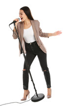 Young Stylish Woman Singing In...