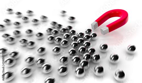 Fotografía  Magnet mit Stahlkugeln