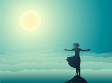 Silhouette Girl Standing On The Edge Of The Cliff An Looking At The Sun-rise And Sea Waves, Sea Landscape,