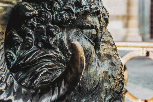 Bronze Rams Head located below the statue of Viriato. Zamora. Spain. Emblematic Lusitanian Warrior statue on a granite pedestal crossed by a Battering Ram with a ram head.