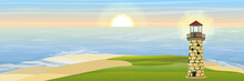 Lighthouse On The Bay. Realistic Vector Landscape