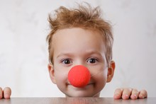Nose Clown Background White Child. Kid Circus.