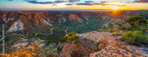 Foto auf Leinwand Dunkelbraun panorama view of sunrise over charles knife canyon, western australia 3