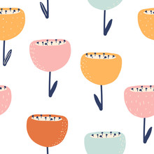 Seamless Pattern With Hand Drawn Flowers. Cute Floral Print. Vector Hand Drawn Illustration.