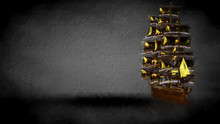 3d Rendering Of A Golden Pirate Boat On A Dark Background