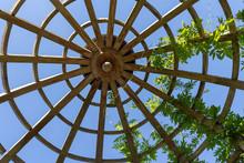 Wooden Gazebo Roof Design Blue Sky At Background