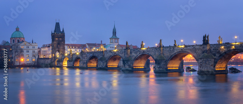 In de dag Centraal Europa Panoramic view of Charles Bridge at Night, Prague - Czech Republic