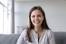 Smiling Teen Girl Speaking By Video Call Distance Job Interview Looking At Camera Talking To Webcam, Female Vlogger Recording Vlog At Home, Teacher Student Teach Study Online, Head Shot Portrait
