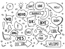 Hand Drawn Vector Speech Bubbles With Hi, Hello, Thank You And Many More In Doodle Style With Cute Arrows, Hearts And Stars.