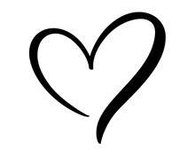 Calligraphic Love Heart Sign. ...