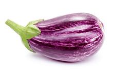 Single Eggplant Isolated On White Background
