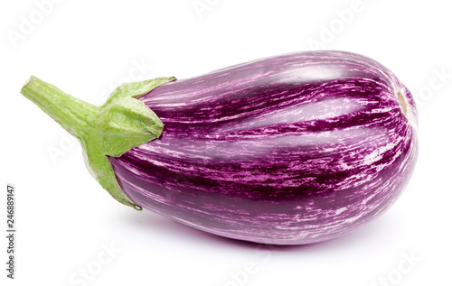 single eggplant isolated on white background Wallpaper Mural