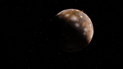 Fantastic Ice Exoplanet or Pluto 3D illustration (Elements of this image furnished by NASA)