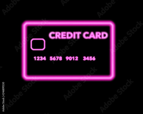 A neon sign that looks like a credit card is seen in this illustration about shopping for credit cards.