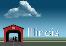 Illinois Is Featured In This Rural Themed Poster. A Red Covered Bridge, Blue Sky, A Stream And Flat Grassland Are The Background For A Young Couple Together Inside The Bridge.