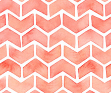 Seamless Repeated Pattern Of Cute Artistic Decorative Ornamental Zigzagged Arrows Or Checkmark Symbols. Lovely Pastel Color, Handmade Gradient. Handdrawn Liquid Water Colour Graphic Drawing On White.