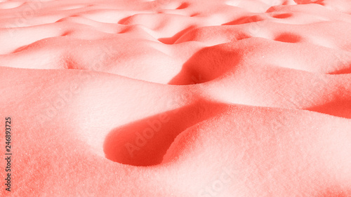 trend-photography-on-the-theme-of-the-new-color-of-the-year-2019-living-coral-texture-of-snow-powder-background