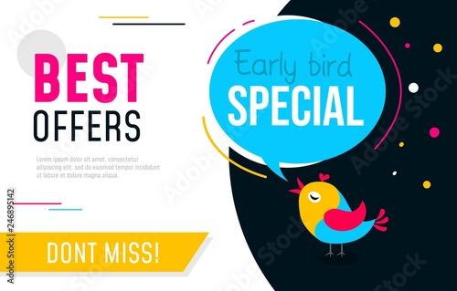 Fotografía  Early bird special flyer or banner design template