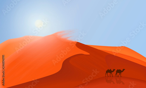 La pose en embrasure Rouge Desert dunes landscape background with camels walking in the desert . Simple flat minimalism illustration.