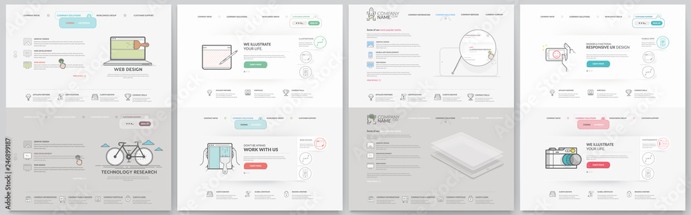 Fototapety, obrazy: Business website template elements collection.