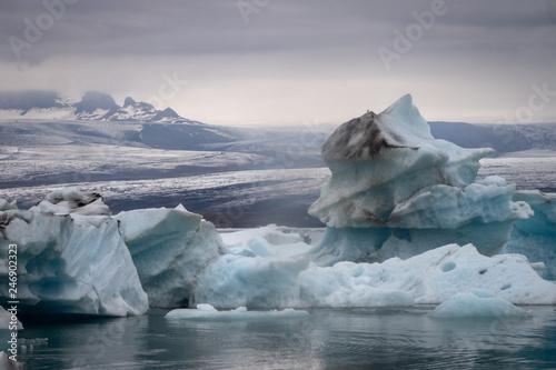 Poster Glaciers Icebergs on Jökulsárlón Glacier Lagoon - Iceland