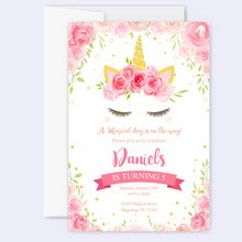 Cute Unicorn Graphics With Flower Wreath