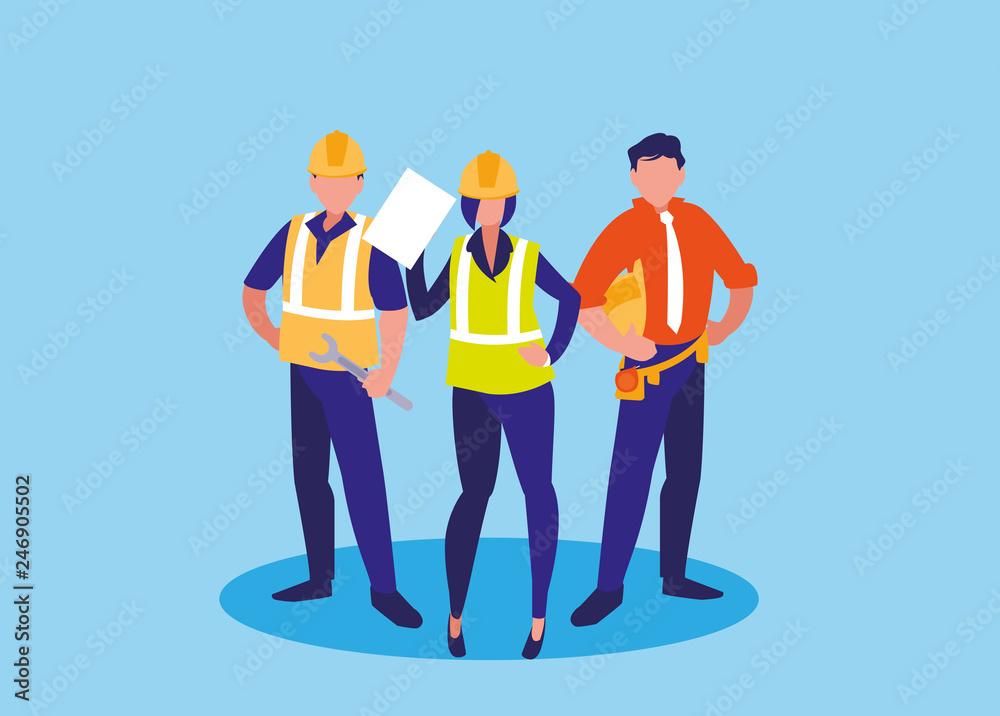 Fototapeta group of workers industrials avatar character - obraz na płótnie