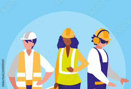 Fototapeta group of workers industrials avatar character