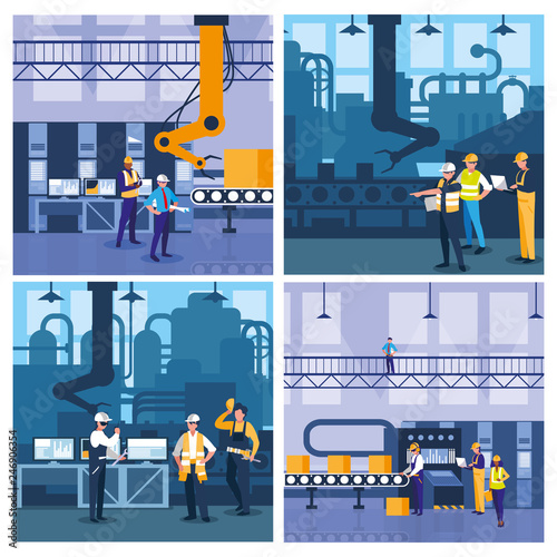 Fotomural team work people in factory scene