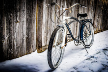 Vintage Bicycle On Winter Snow...