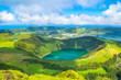 """Beautiful view of Seven Cities Lake """"Lagoa das Sete Cidades"""" from Hell Mouth viewpoint """"Miradouro Boca do Inferno"""" in São Miguel Island - Azores - Portugal"""