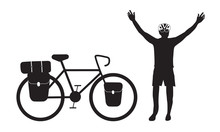 Cyclist Raising His Hand With Bikepacking Touring Bicycle Vector