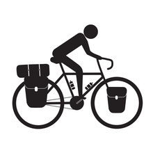 Cyclist Riding Bikepacking Touring Bicycle Vector