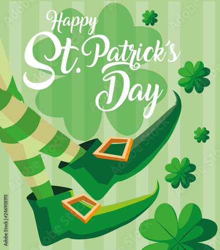 Fotografia st patrick day and foots of leprechaun with boots