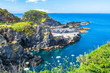 canvas print picture - Beautiful view of the beach in Santa Cruz das Flores Village - Flores Island - Azores Portugal