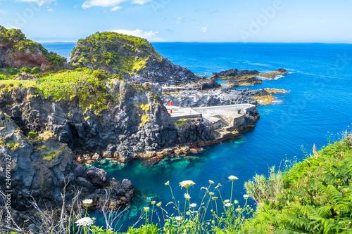 Poster Cote Beautiful view of the beach in Santa Cruz das Flores Village - Flores Island - Azores Portugal
