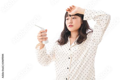 風邪をひいた若い女性・インフルエンザイメージ Tablou Canvas