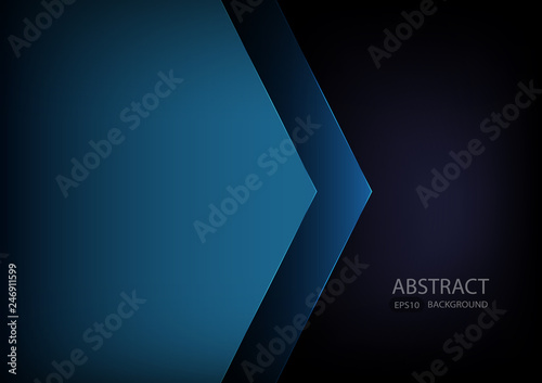 Blue angle arrow overlap vector background on space for text and message artwork Wallpaper Mural