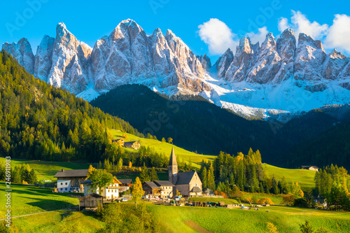 Aluminium Prints Alps Beautiful sunset in Santa Maddalena village - Val di Funes valley, Dolomites - Trentino Alto Adige, Bolzano - Italy