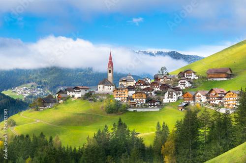 Beautiful view of Pieve di Marebbe Enneberg Pfarre village in Trentino Alto Adig Wallpaper Mural