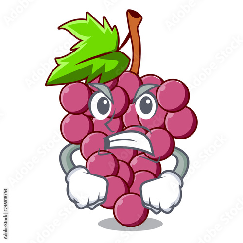 Wall Murals Bestsellers Angry red grapes fruit above mascot table