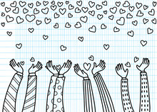 Men Lift Up Their Hands To Receive The Heart That Is Falling.hearts Falling From Hand, Doodle Style ,vector Illustration