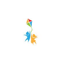 Happy Kids Logo Vector Illustration. Children Logo. Child Care. Kindergarten. Pre School. Icon. Vector Illustration. Minimalist - Vector Eps 10
