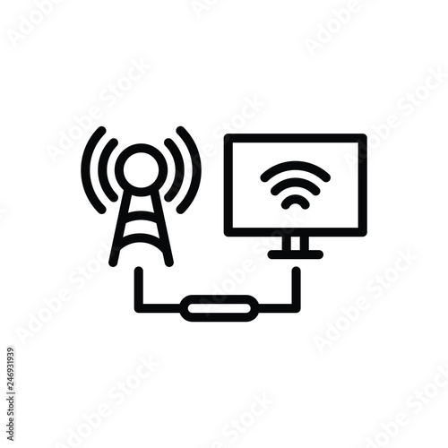 Black line icon for connected Wallpaper Mural