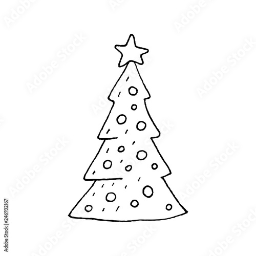 Cute Cartoon Hand Drawn Christmas Tree Drawing Sweet Vector Black