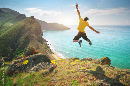 Fotografie, Tablou  Man happines jump and sea
