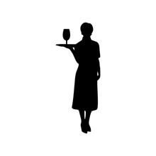 Waitress Female Vector Silhoue...