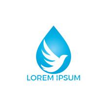 Bird Water Drop Logo Icon Vect...